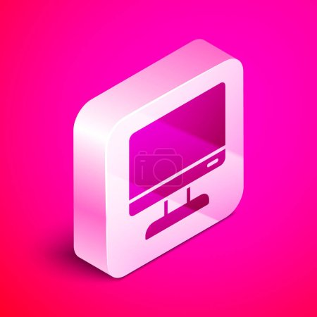 Illustration for Isometric Computer monitor screen icon isolated on pink background. Electronic device. Front view. Silver square button. Vector Illustration. - Royalty Free Image