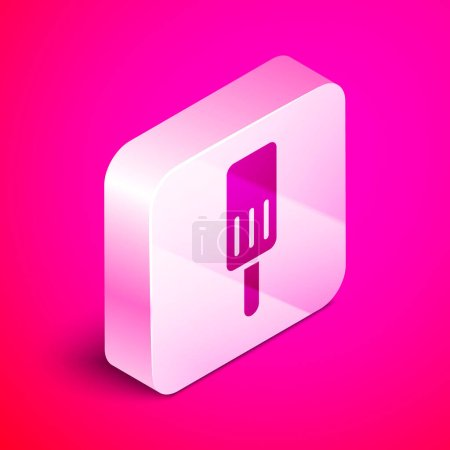 Illustration for Isometric Ice cream icon isolated on pink background. Sweet symbol. Silver square button. Vector. - Royalty Free Image