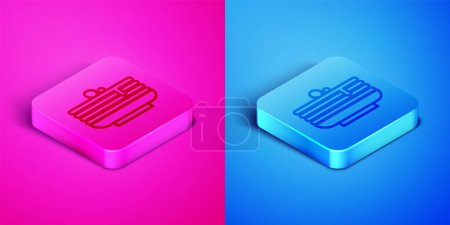Illustration for Isometric line Stack of pancakes icon isolated on pink and blue background. Baking with syrup and cherry. Breakfast concept. Square button. Vector. - Royalty Free Image