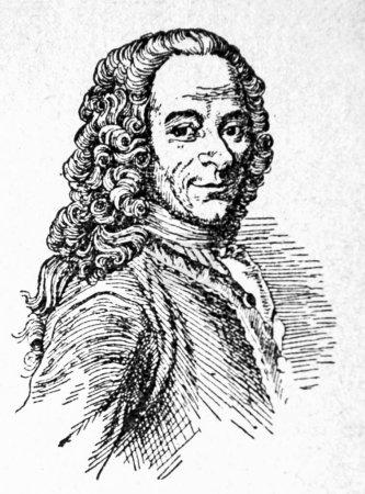 Photo pour Francois Marie Voltaire - photo de Historia générales de la literatura livre écrit en langue espagnole par Jm Blecua, publié en 1944 - image libre de droit