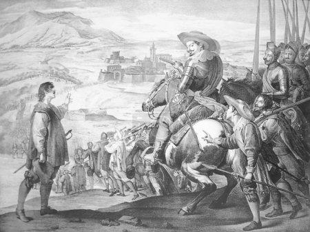 Photo pour Badajoz, Espagne - 26 mars 2005 : Le soulagement espagnol de Breisach par le duc de Feria en 1633, scène de guerre de trente ans. Lithographie au Musée des Beaux-Arts de Badajoz - image libre de droit