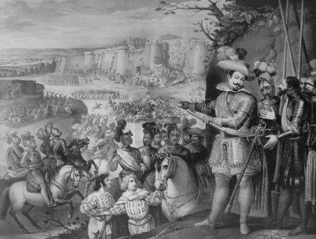 Photo pour Badajoz, Espagne - 26 mars 2005 : 1663 Prise de Rheinfelden par le duc de Feria. Lithographie de la scène de guerre de trente ans. Musée des Beaux-Arts de Badajoz - image libre de droit