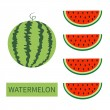 Sweet watermelon slices isolated on white backgrou...