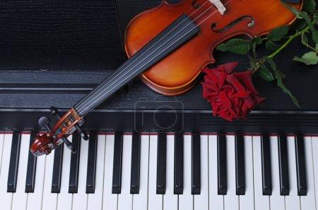 Photo pour Gros plan de violon et rose rouge couché sur piano - image libre de droit