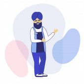A man Hindu with a national turban on his head in an apron of a shop seller and a badge Flat modern style Protection of the rights of people of different nationalities and religions  illustration