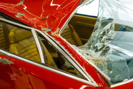 Photo for Damaged car with shattered windshield, selective focus - Royalty Free Image