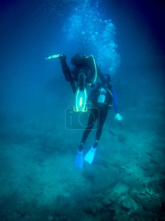 Photo for Scuba divers undersea, Crete, Greece - Royalty Free Image