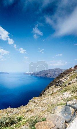 Photo for Scenic view of coastline of Santorini island - Royalty Free Image