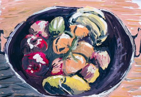 Photo for Oil paint of fruits and vegetables in vessel - Royalty Free Image