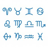 12 Zodiac sign for astrology Outline style Set of simple icons Blue on white background vector