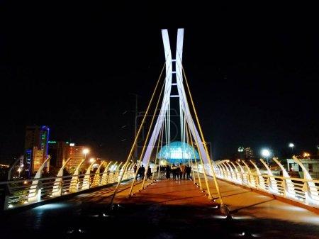 Bridge tabiat at night in Tehran connecting two parks