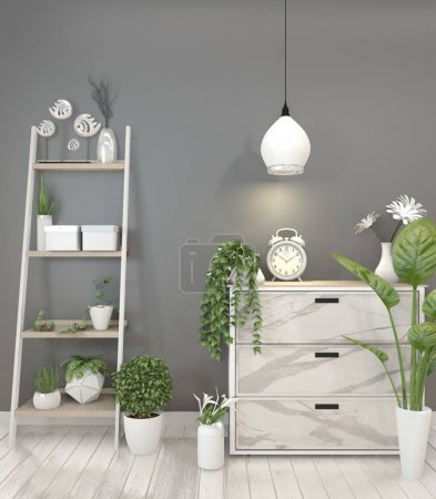 Mock up granite cabinet in modern living room with plant on blac