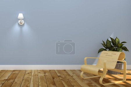 Photo for Living Room Interior with wooden sofa with a lamp,plants on blue wall background. 3D rendering - Royalty Free Image