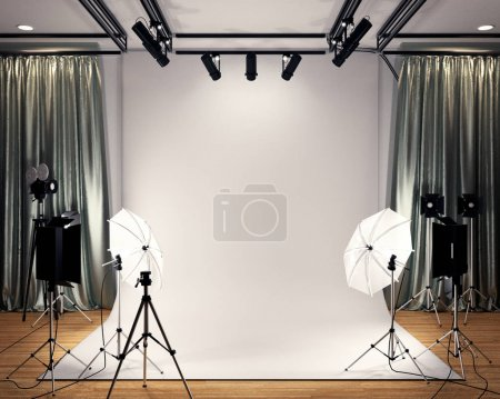 Photo for Studio BIg - Modern Film Studio with white Screen. 3D rendering - Royalty Free Image