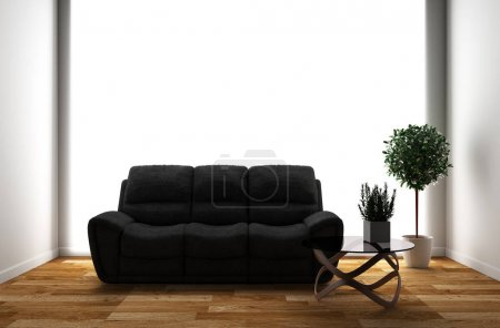 Photo for Room interior with sofa and plants on empty white wall background. 3D rendering - Royalty Free Image