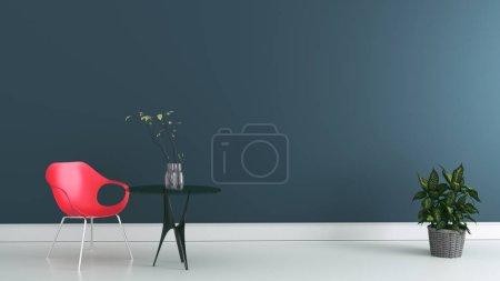 Photo pour Salle de travail avec chaise et table sur mur sombre. Rendu 3d - image libre de droit