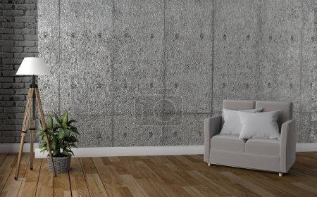 moderne Inneneinrichtung im Loft-Stil. 3D-Darstellung