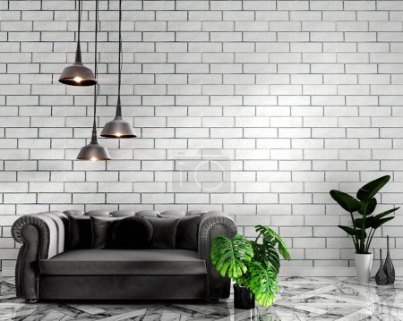 Photo for Tropical Loft interior mock up with sofa and decoration and white brick wall on granite floor .3D rendering - Royalty Free Image