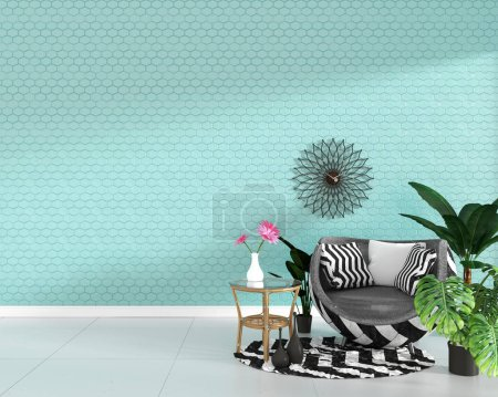 Photo for Modern living room interior with armchair decoration and green plants on hexagon mint tile texture wall background,minimal design, 3d rendering - Royalty Free Image
