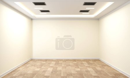 empty room interior with wooden floor on white wall background.