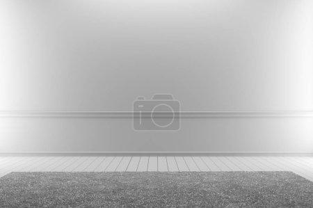 Photo pour Tapis blanc en parquet blanc sur une pièce blanche vide. rendu 3D - image libre de droit