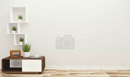 Photo pour Chambre vide avec table et plantes, style tropical. rendu 3D - image libre de droit