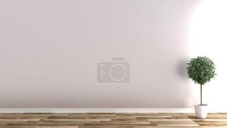 Photo pour Chambre vide avec des plantes sur sol en bois, fond mural blanc .3D rendu - image libre de droit