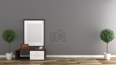 Photo for Empty room interior ,Black wall background on wooden floor. 3D rendering - Royalty Free Image