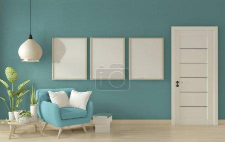 Photo pour Affiche maquette intérieur de salon avec canapé de fauteuil bleu sur la conception minimale de pièce bleue. Rendu 3d - image libre de droit