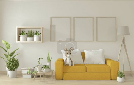 Photo for Poster mock up living room interior with yellow armchair sofa on white room design minimal design. 3D rendering - Royalty Free Image
