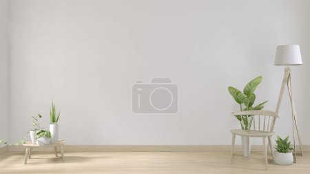 Photo for Mock up poster frame and white white living room minimal design.3D rendering - Royalty Free Image