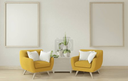 Photo for Interior poster mock up living room with yellow sofa arm shair.3D rendering - Royalty Free Image