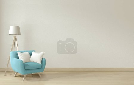 Photo for Interior poster mock up living room with blue armchair and decoration. 3D rendering. - Royalty Free Image