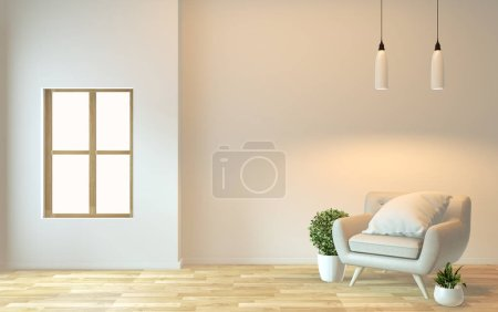 Photo for Interior design,zen modern living with arm chair and decoration.3D rendering - Royalty Free Image