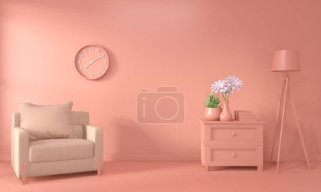 Photo for Armchair and decoration mock up room interior color living coral style.3D rendering - Royalty Free Image