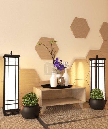 Photo pour Japonais Ryokan, salon zen style avec carrelage hexagonal sur mur et tatami tapis plancher, décoration japonaise style.3D rendu - image libre de droit