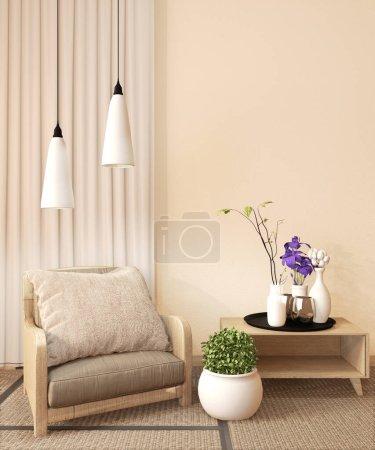 Photo pour Chambre Ryokan design très japonais style.3D rendu - image libre de droit