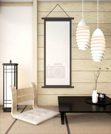 Zen Zimmer Innenraum Holzwand auf Tatami-Mattenboden mit Poster fr
