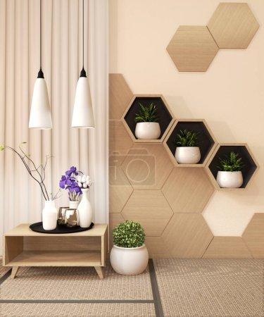 Photo pour Tablette hexagonale en bois et carreaux hexagonaux en bois design sur tapis tatami design ryokan japonais et mur en bois avec décoration japonaise style.3D rendu - image libre de droit