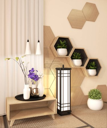 Photo for Wooden Hexagon shelf and wooden hexagon tiles design on japan ryokan design tatami mat and wooden wall with decoration japanese style.3D rendering - Royalty Free Image