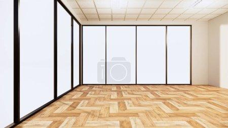 Photo pour Chambre vide intérieur avec plancher en bois sur fond de mur blanc. rendu 3D - image libre de droit