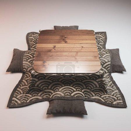 Photo pour Kotatsu table basse style japonais et oreiller sur fond blanc. - image libre de droit