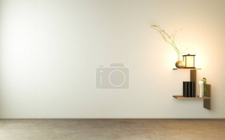 Photo for Shelf on wall in modern empty room Japanese - zen style,minimal designs. 3D rendering - Royalty Free Image