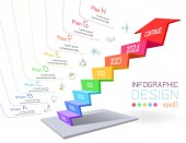 Business infographic on three dimensional graph bar