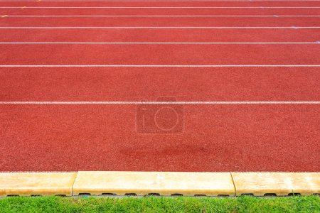 White lines of stadium and texture of running race...