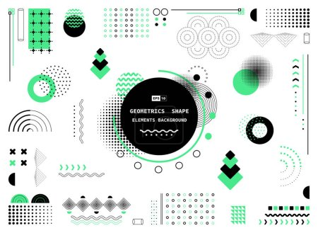 Illustration for Abstract green and black geometric shape of modern elements cover design background. Use for poster, artwork, template design, ad, print. illustration vector eps10 - Royalty Free Image