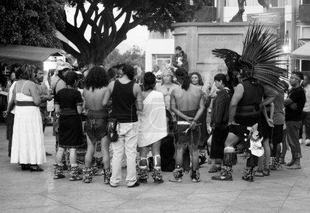 Photo pour Représentation de cérémonie aztèque préhispanique, Cuernavaca, Mexique - image libre de droit