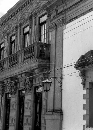Photo for Black white photo, Lagos de Moreno, Jalisco, Mexico, Historic Center architecture, building facade wall - Royalty Free Image
