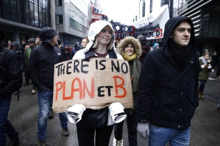 Photo for Brussels, Belgium. 27th January 2019.People take part in a march called 'Rise for Climate' . - Royalty Free Image