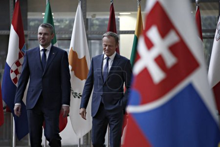 Slovak Prime Minister Peter Pellegrini visits EU Council, Brusse